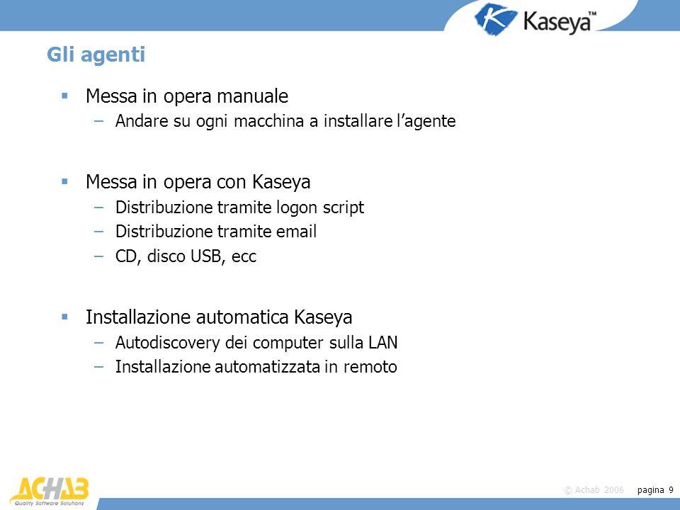 © Achab 2006 pagina 9 Gli agenti Messa in opera manuale –Andare su ogni macchina a installare lagente Messa in opera con Kaseya –Distribuzione tramite