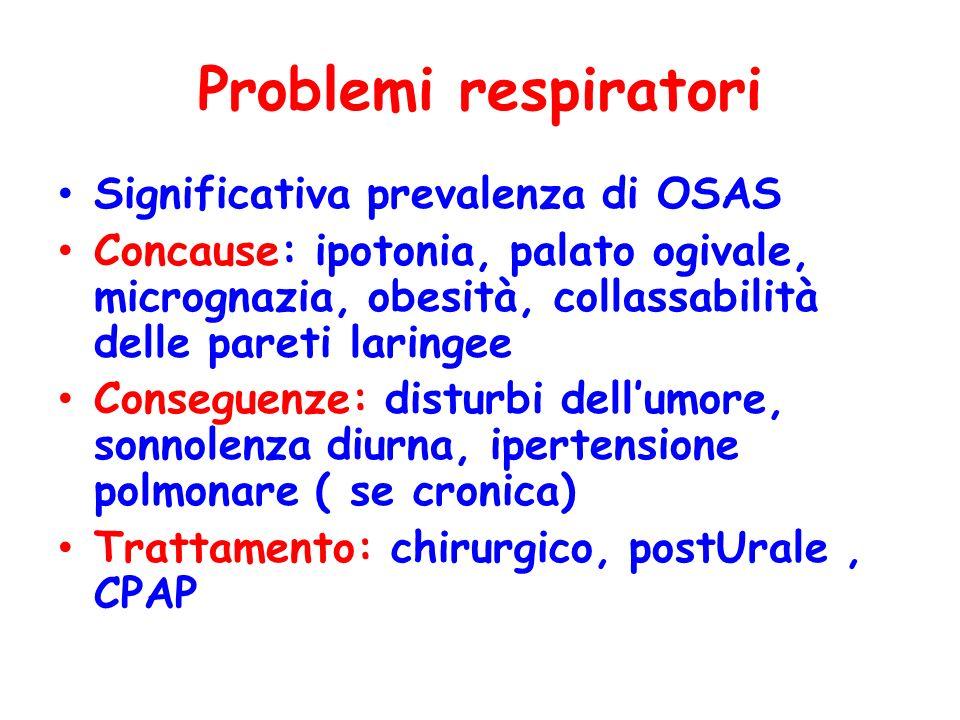 Problemi respiratori Significativa prevalenza di OSAS Concause: ipotonia, palato ogivale, micrognazia, obesità, collassabilità delle pareti laringee C