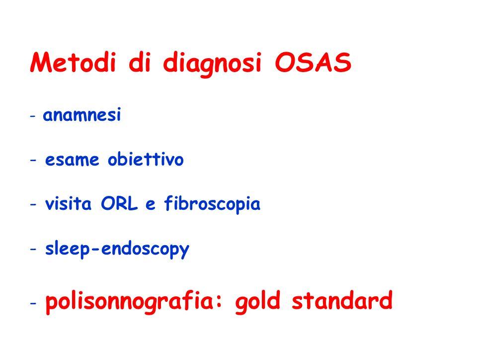 Metodi di diagnosi OSAS - anamnesi - esame obiettivo - visita ORL e fibroscopia - sleep-endoscopy - polisonnografia: gold standard