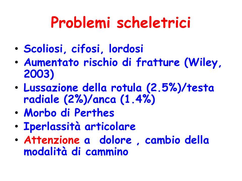Problemi scheletrici Scoliosi, cifosi, lordosi Aumentato rischio di fratture (Wiley, 2003) Lussazione della rotula (2.5%)/testa radiale (2%)/anca (1.4