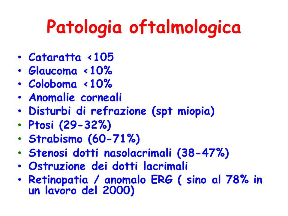 Patologia oftalmologica Cataratta <105 Glaucoma <10% Coloboma <10% Anomalie corneali Disturbi di refrazione (spt miopia) Ptosi (29-32%) Strabismo (60-