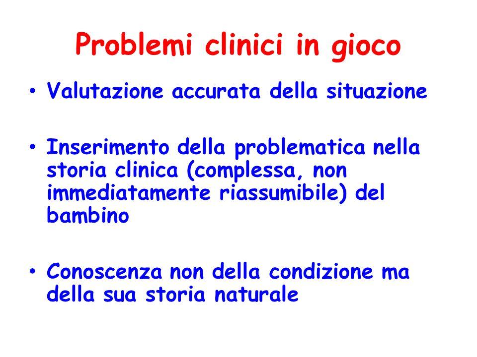 Problemi clinici in gioco Valutazione accurata della situazione Inserimento della problematica nella storia clinica (complessa, non immediatamente ria