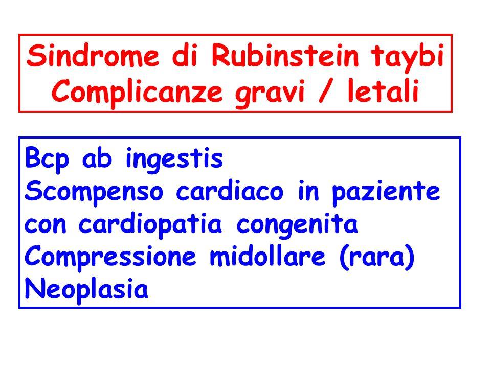 Bcp ab ingestis Scompenso cardiaco in paziente con cardiopatia congenita Compressione midollare (rara) Neoplasia Sindrome di Rubinstein taybi Complica