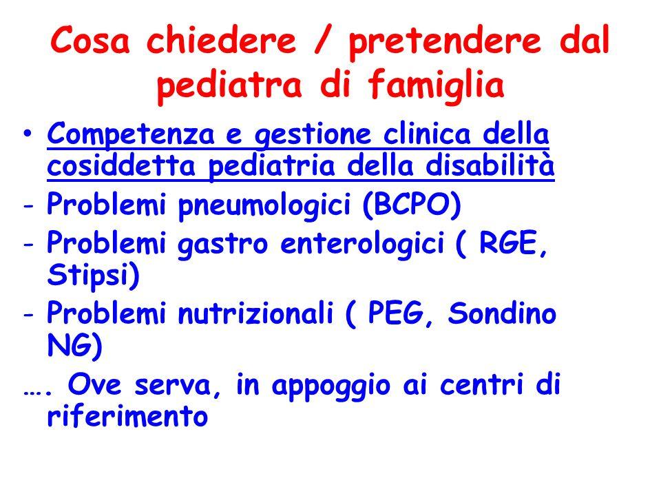 Cosa chiedere / pretendere dal pediatra di famiglia Competenza e gestione clinica della cosiddetta pediatria della disabilità -Problemi pneumologici (