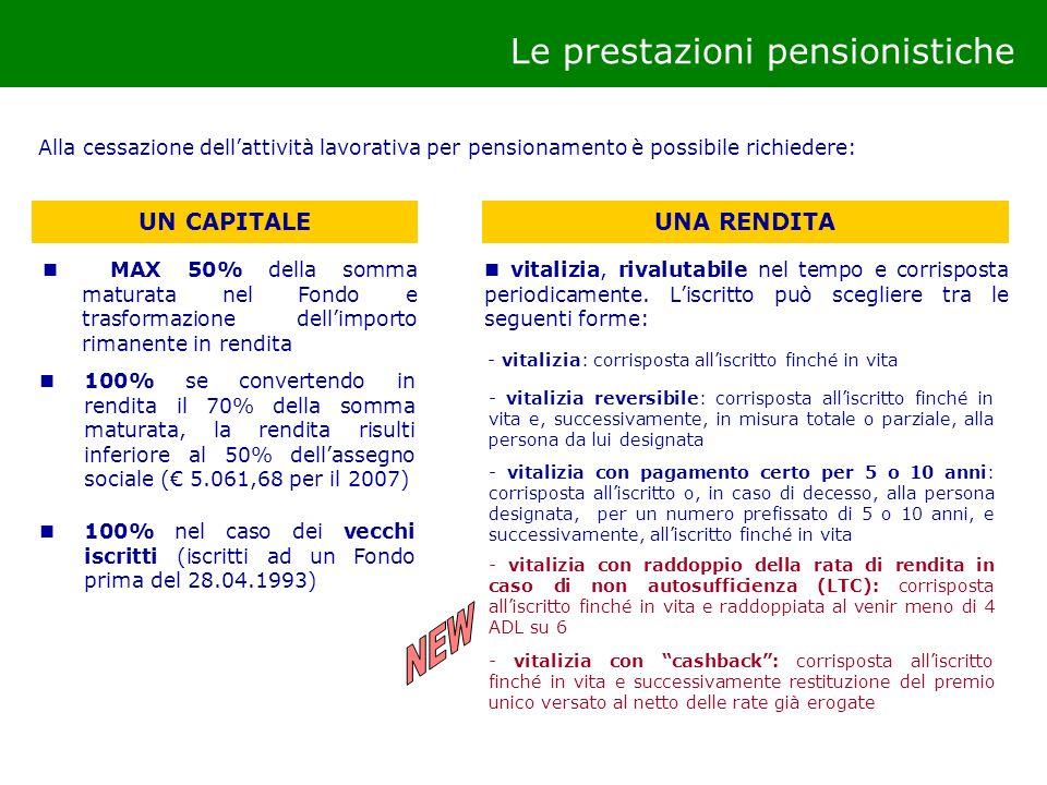 100% nel caso dei vecchi iscritti (iscritti ad un Fondo prima del 28.04.1993) MAX 50% della somma maturata nel Fondo e trasformazione dellimporto rima