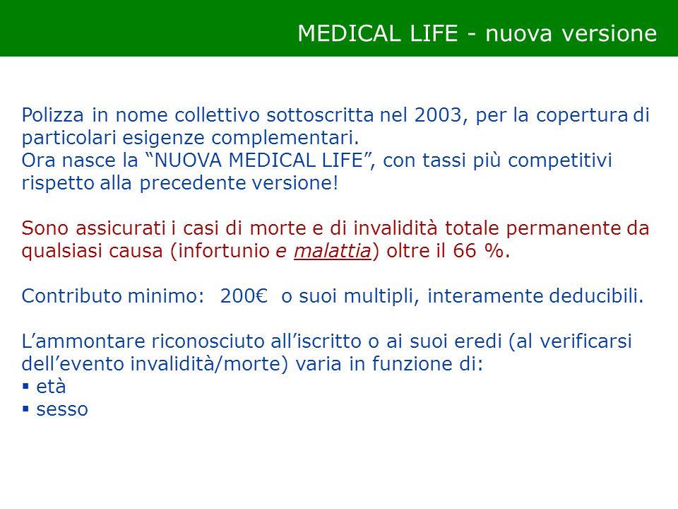 Polizza in nome collettivo sottoscritta nel 2003, per la copertura di particolari esigenze complementari. Ora nasce la NUOVA MEDICAL LIFE, con tassi p