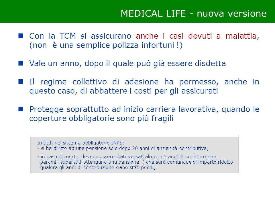 Con la TCM si assicurano anche i casi dovuti a malattia, (non è una semplice polizza infortuni !) Vale un anno, dopo il quale può già essere disdetta