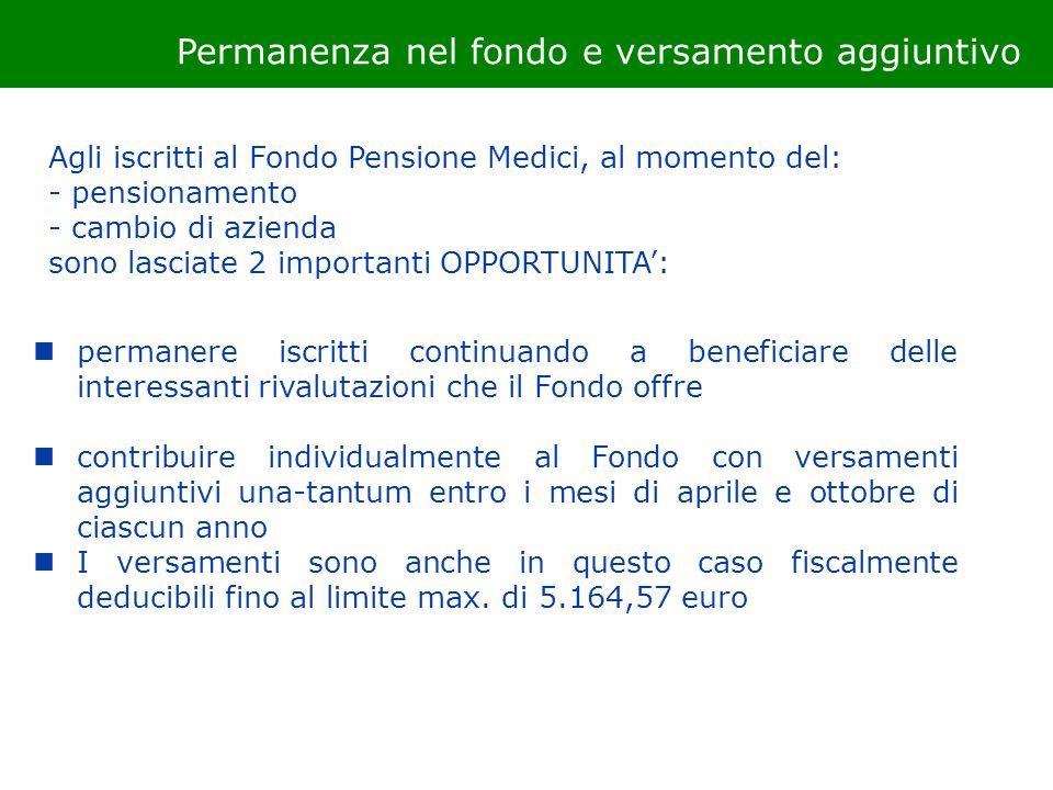 Permanenza nel fondo e versamento aggiuntivo Agli iscritti al Fondo Pensione Medici, al momento del: - pensionamento - cambio di azienda sono lasciate