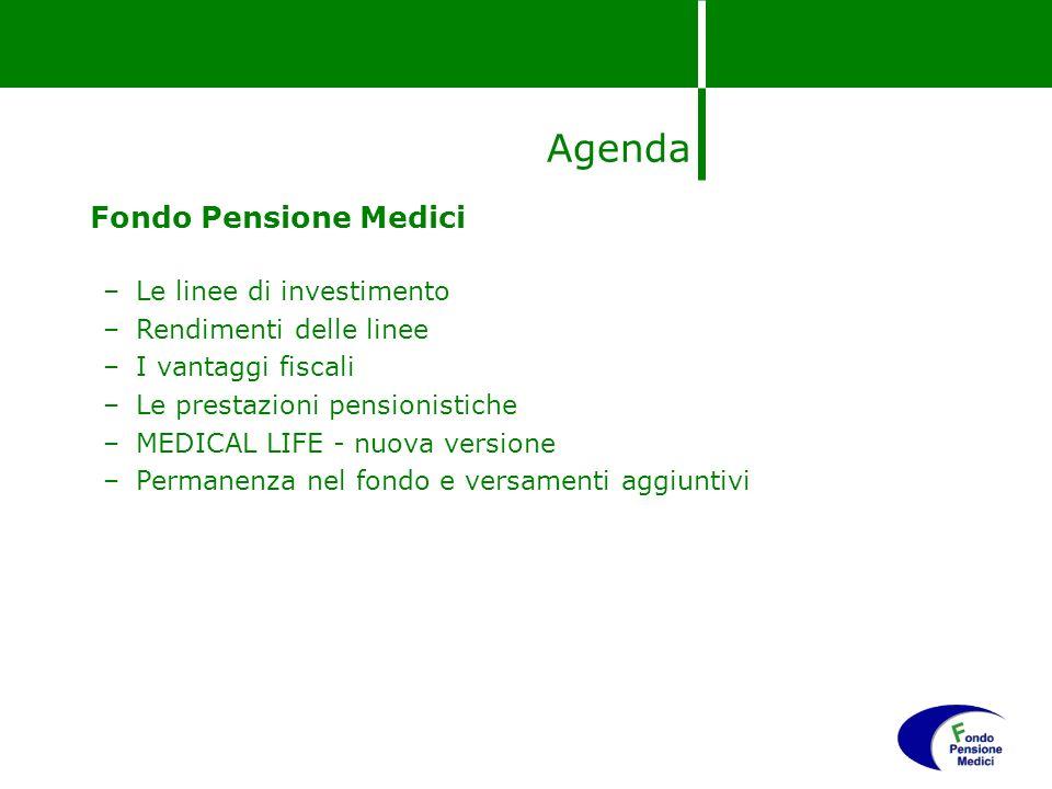 Agenda Fondo Pensione Medici –Le linee di investimento –Rendimenti delle linee –I vantaggi fiscali –Le prestazioni pensionistiche –MEDICAL LIFE - nuov