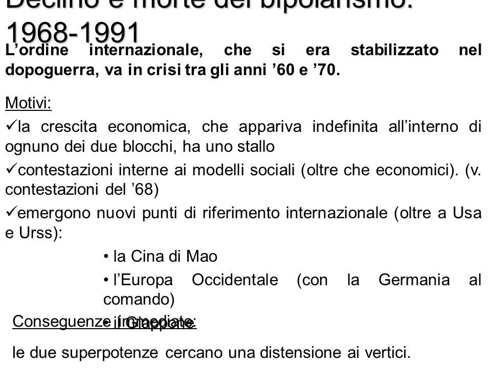Declino e morte del bipolarismo: 1968-1991 Lordine internazionale, che si era stabilizzato nel dopoguerra, va in crisi tra gli anni 60 e 70. Motivi: l