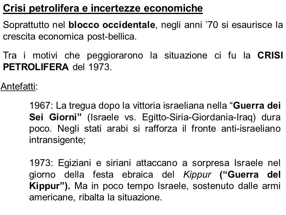 Crisi petrolifera e incertezze economiche Soprattutto nel blocco occidentale, negli anni 70 si esaurisce la crescita economica post-bellica. Tra i mot
