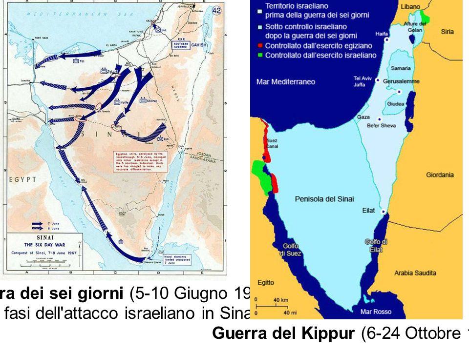 Guerra dei sei giorni (5-10 Giugno 1967) Le fasi dell'attacco israeliano in Sinai Guerra del Kippur (6-24 Ottobre 1973)
