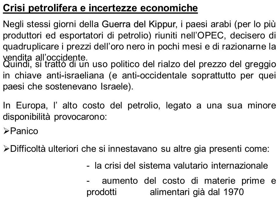 Crisi petrolifera e incertezze economiche Guerra del Kippur Negli stessi giorni della Guerra del Kippur, i paesi arabi (per lo più produttori ed espor