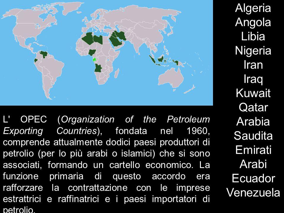 L' OPEC (Organization of the Petroleum Exporting Countries), fondata nel 1960, comprende attualmente dodici paesi produttori di petrolio (per lo più a