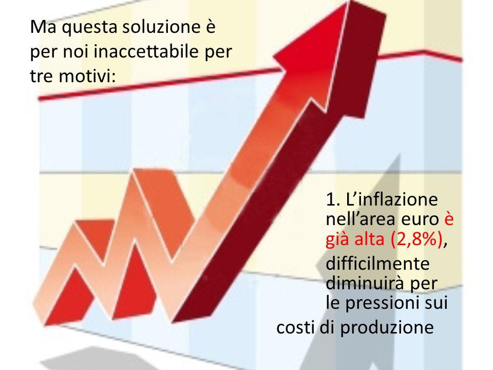 Ma questa soluzione è per noi inaccettabile per tre motivi: 1. Linflazione nellarea euro è già alta (2,8%), difficilmente diminuirà per le pressioni s