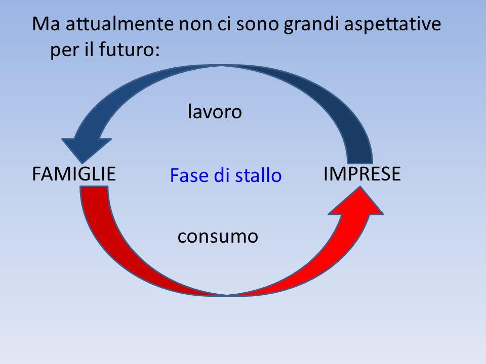 Ma attualmente non ci sono grandi aspettative per il futuro: lavoro FAMIGLIE IMPRESE consumo Fase di stallo