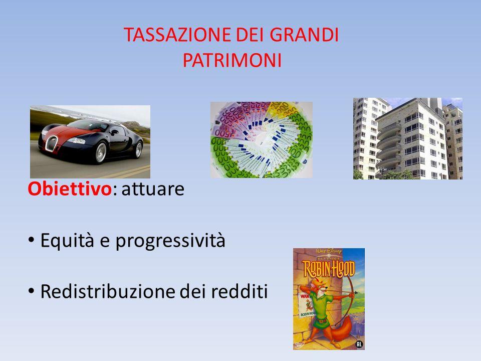 TASSAZIONE DEI GRANDI PATRIMONI Obiettivo: attuare Equità e progressività Redistribuzione dei redditi