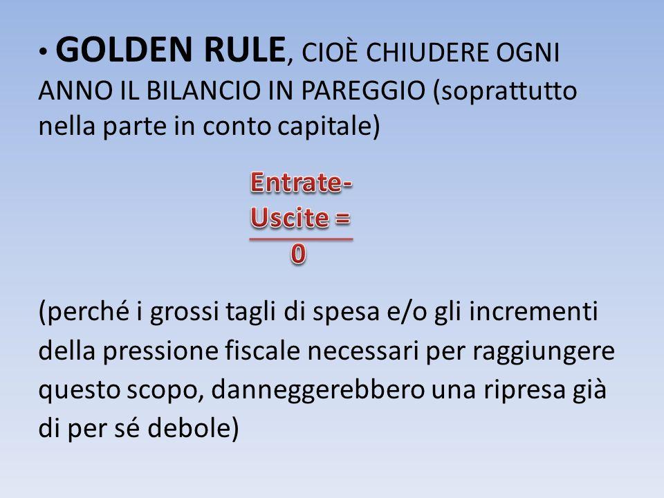 GOLDEN RULE, CIOÈ CHIUDERE OGNI ANNO IL BILANCIO IN PAREGGIO (soprattutto nella parte in conto capitale) (perché i grossi tagli di spesa e/o gli incre