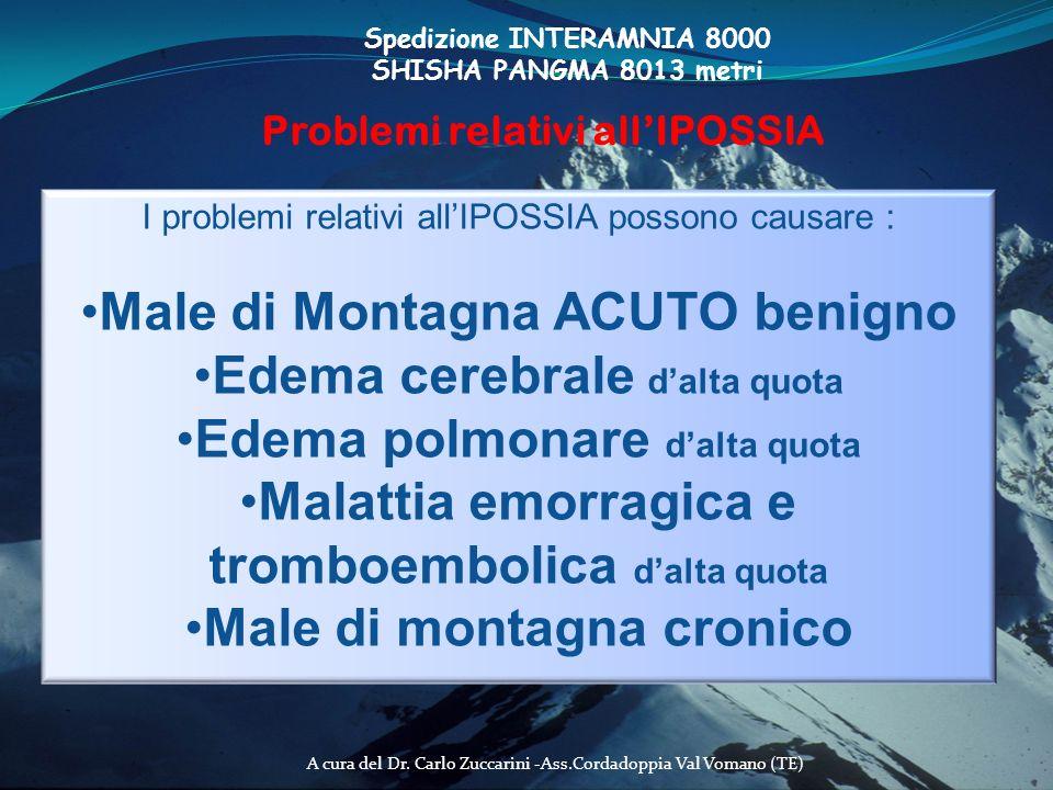 A cura del Dr. Carlo Zuccarini -Ass.Cordadoppia Val Vomano (TE) Spedizione INTERAMNIA 8000 SHISHA PANGMA 8013 metri Problemi relativi allIPOSSIA I pro