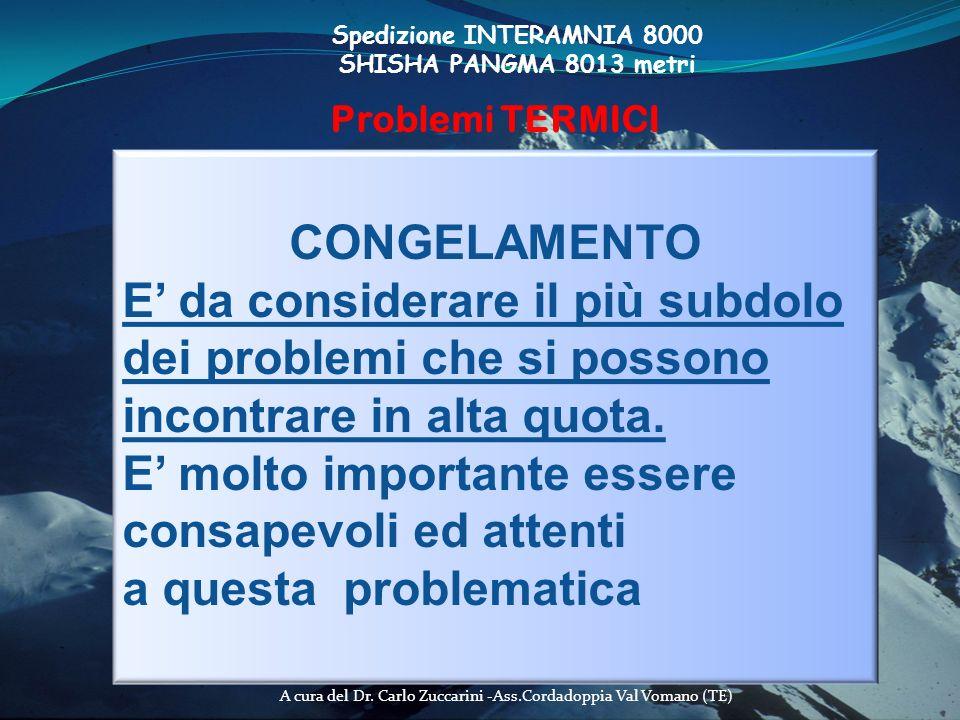 A cura del Dr. Carlo Zuccarini -Ass.Cordadoppia Val Vomano (TE) Spedizione INTERAMNIA 8000 SHISHA PANGMA 8013 metri Problemi TERMICI CONGELAMENTO E da