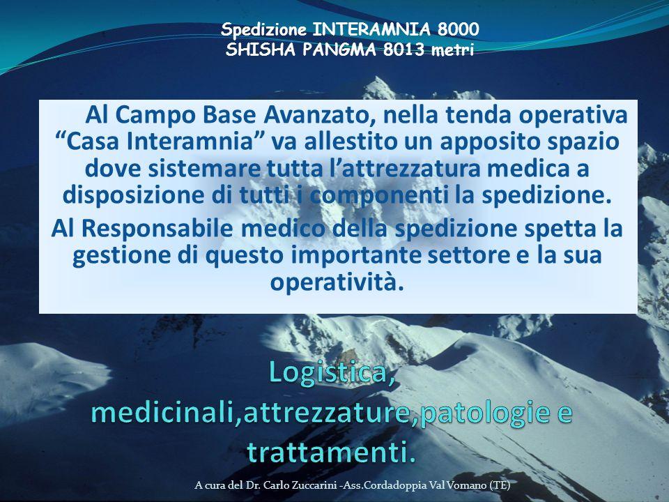 A cura del Dr. Carlo Zuccarini -Ass.Cordadoppia Val Vomano (TE) Al Campo Base Avanzato, nella tenda operativa Casa Interamnia va allestito un apposito