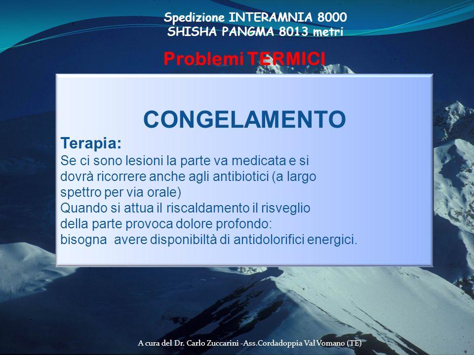 A cura del Dr. Carlo Zuccarini -Ass.Cordadoppia Val Vomano (TE) Spedizione INTERAMNIA 8000 SHISHA PANGMA 8013 metri Problemi TERMICI CONGELAMENTO Tera