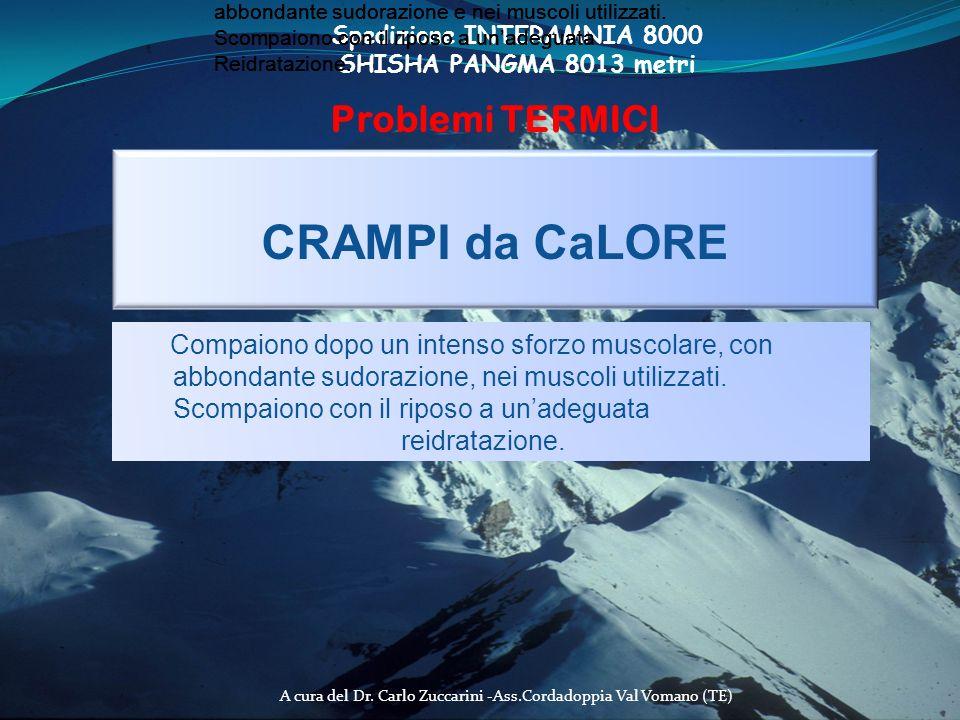A cura del Dr. Carlo Zuccarini -Ass.Cordadoppia Val Vomano (TE) Spedizione INTERAMNIA 8000 SHISHA PANGMA 8013 metri Problemi TERMICI CRAMPI da CaLORE