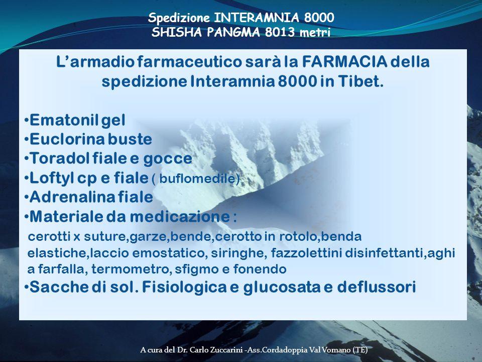 A cura del Dr. Carlo Zuccarini -Ass.Cordadoppia Val Vomano (TE) Larmadio farmaceutico sarà la FARMACIA della spedizione Interamnia 8000 in Tibet. Emat
