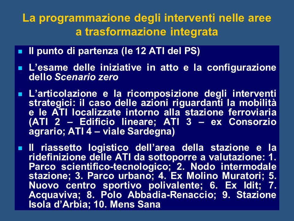 La programmazione degli interventi nelle aree a trasformazione integrata Il punto di partenza (le 12 ATI del PS) Lesame delle iniziative in atto e la