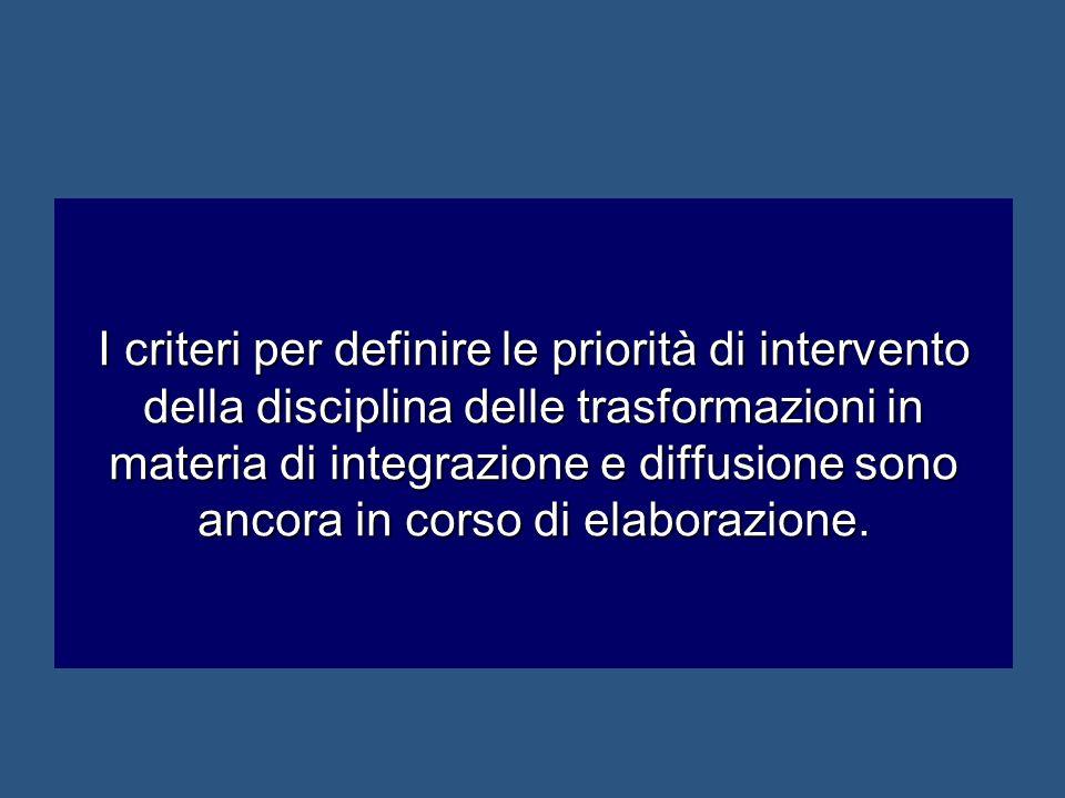I criteri per definire le priorità di intervento della disciplina delle trasformazioni in materia di integrazione e diffusione sono ancora in corso di
