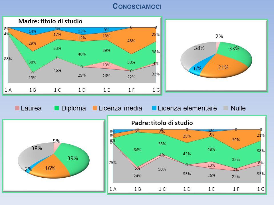 C ONOSCIAMOCI LaureaDiplomaLicenza mediaLicenza elementareNulle