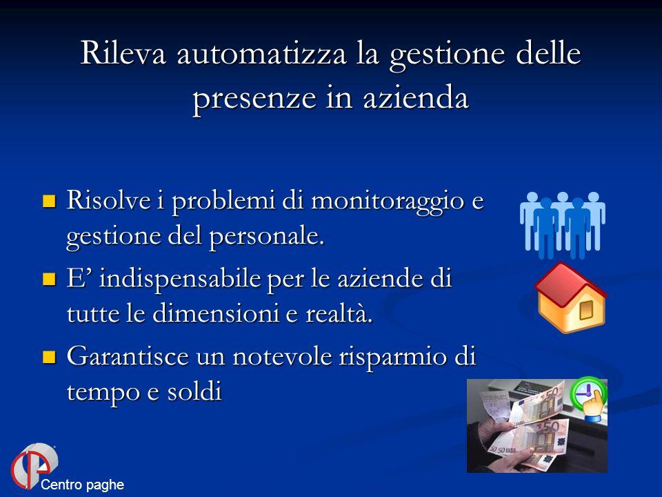Risolve i problemi di monitoraggio e gestione del personale. Risolve i problemi di monitoraggio e gestione del personale. E indispensabile per le azie