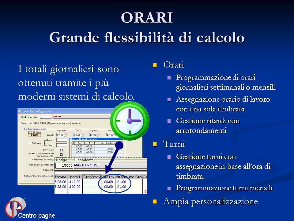 ORARI Grande flessibilità di calcolo I totali giornalieri sono ottenuti tramite i più moderni sistemi di calcolo. Orari Orari Programmazione di orari