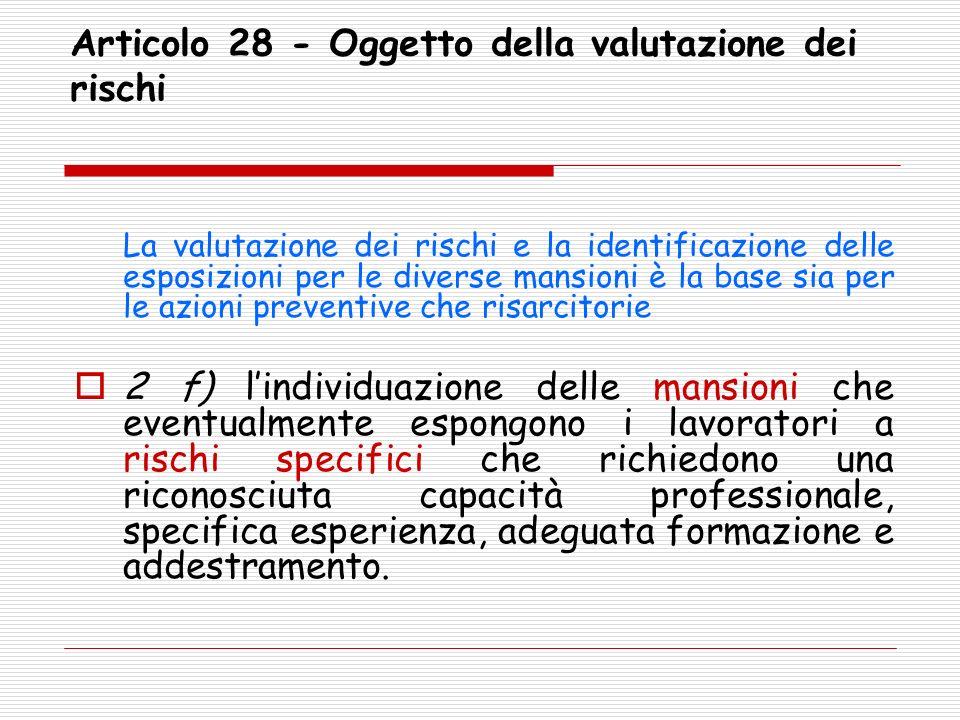 Articolo 28 - Oggetto della valutazione dei rischi La valutazione dei rischi e la identificazione delle esposizioni per le diverse mansioni è la base
