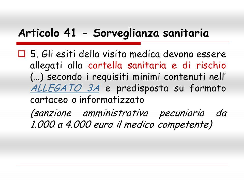 Articolo 41 - Sorveglianza sanitaria 5. Gli esiti della visita medica devono essere allegati alla cartella sanitaria e di rischio (…) secondo i requis