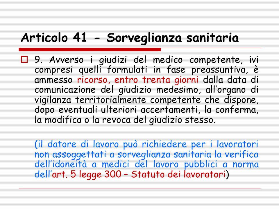 Articolo 41 - Sorveglianza sanitaria 9. Avverso i giudizi del medico competente, ivi compresi quelli formulati in fase preassuntiva, è ammesso ricorso