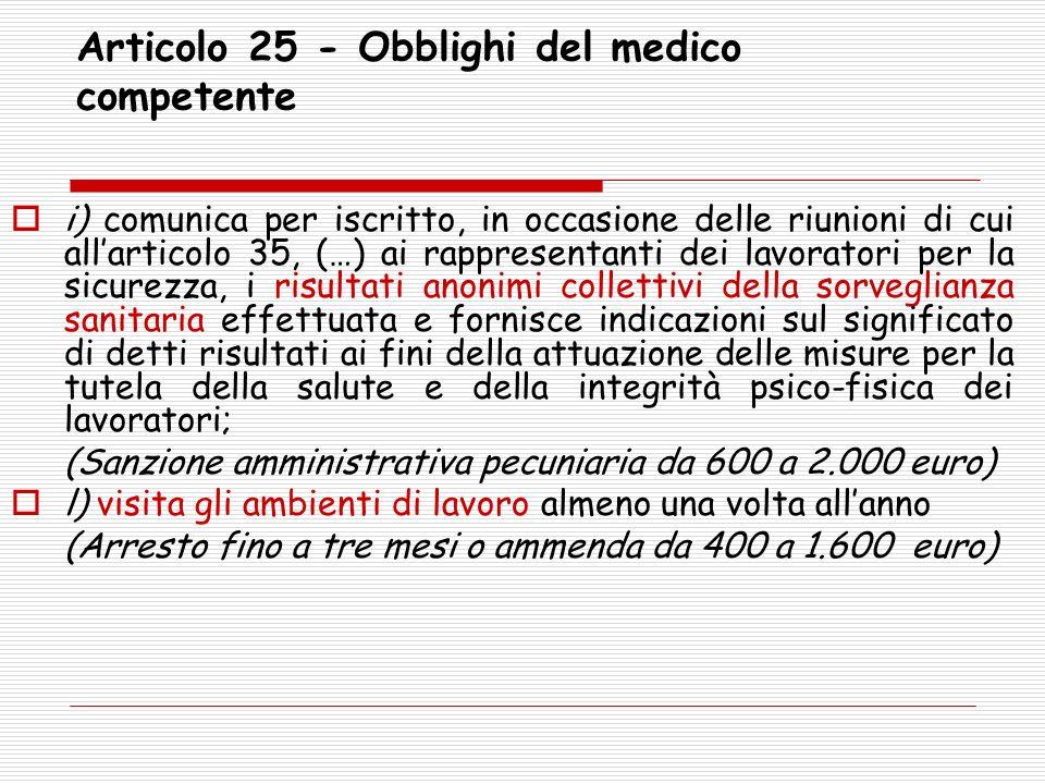 Articolo 25 - Obblighi del medico competente i) comunica per iscritto, in occasione delle riunioni di cui allarticolo 35, (…) ai rappresentanti dei la