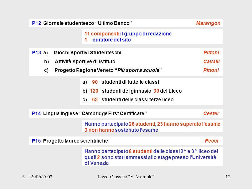 A.s. 2006/2007Liceo Classico E.