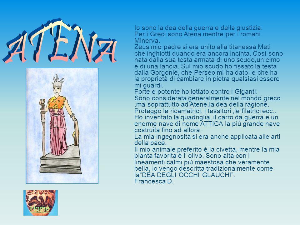 Io sono la dea della guerra e della giustizia. Per i Greci sono Atena mentre per i romani Minerva. Zeus mio padre si era unito alla titanessa Meti che