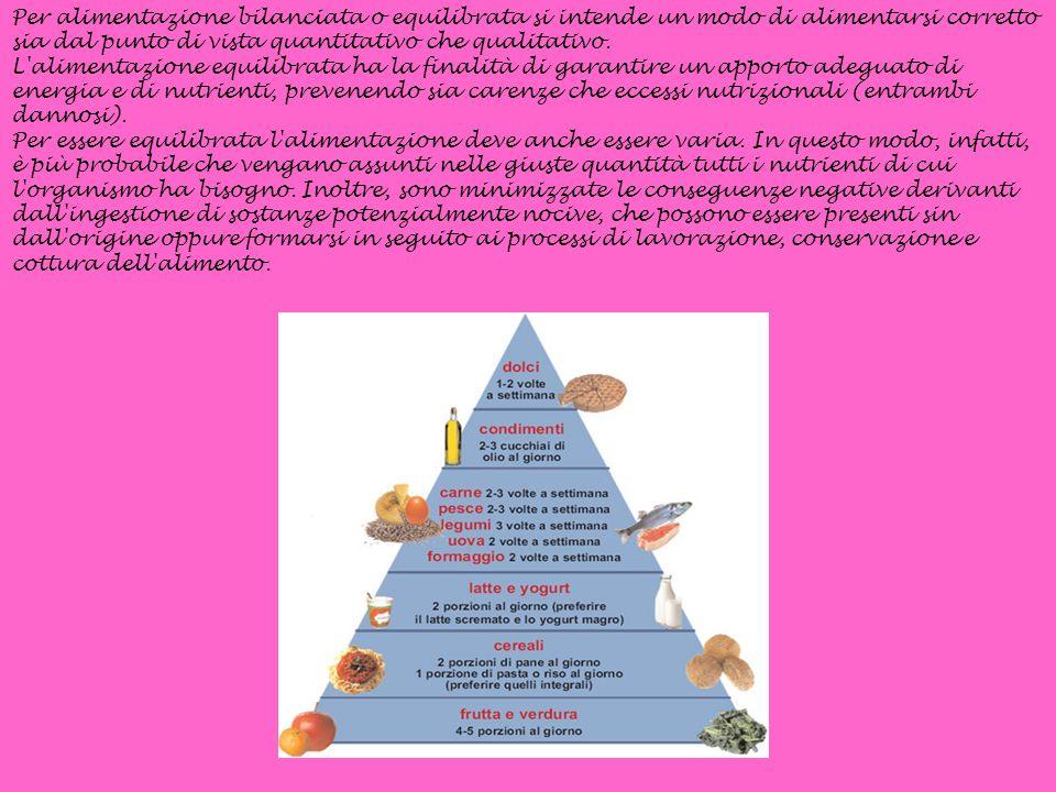 Per alimentazione bilanciata o equilibrata si intende un modo di alimentarsi corretto sia dal punto di vista quantitativo che qualitativo. L'alimentaz
