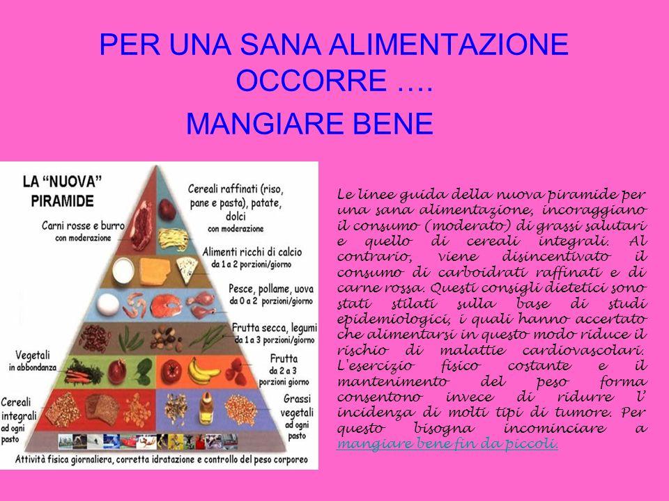 PER UNA SANA ALIMENTAZIONE OCCORRE …. MANGIARE BENE Le linee guida della nuova piramide per una sana alimentazione, incoraggiano il consumo (moderato)
