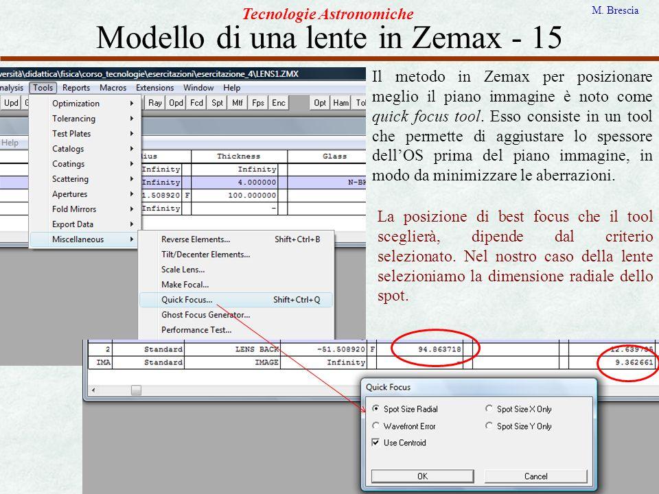 Modello di una lente in Zemax - 15 Tecnologie Astronomiche M. Brescia Il metodo in Zemax per posizionare meglio il piano immagine è noto come quick fo