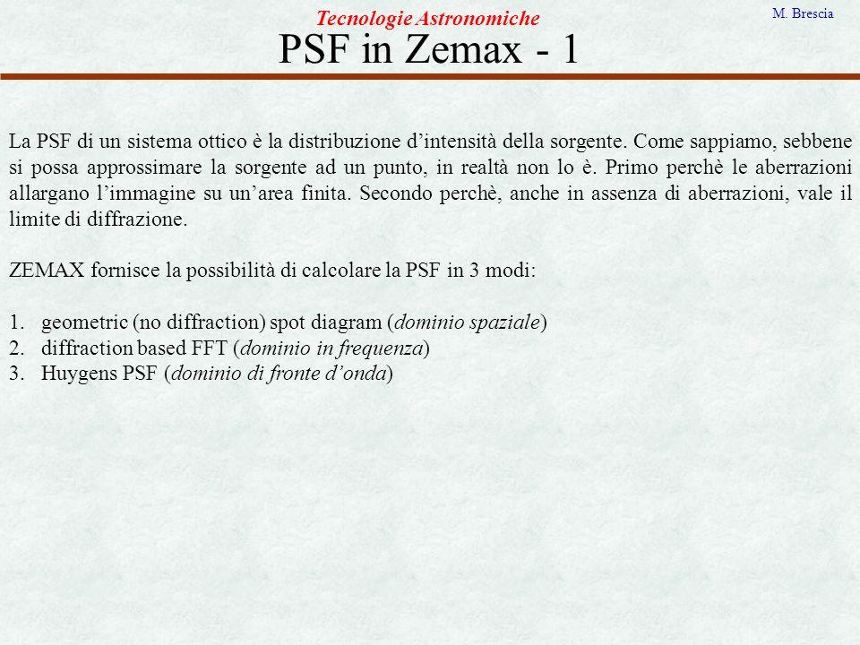 PSF in Zemax - 1 Tecnologie Astronomiche M. Brescia La PSF di un sistema ottico è la distribuzione dintensità della sorgente. Come sappiamo, sebbene s