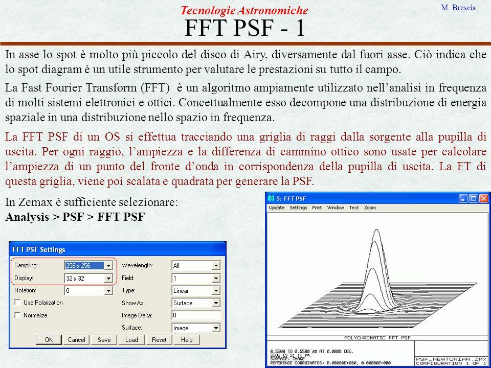 FFT PSF - 1 Tecnologie Astronomiche M. Brescia In asse lo spot è molto più piccolo del disco di Airy, diversamente dal fuori asse. Ciò indica che lo s