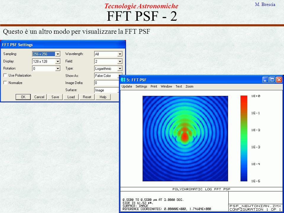FFT PSF - 2 Tecnologie Astronomiche M. Brescia Questo è un altro modo per visualizzare la FFT PSF