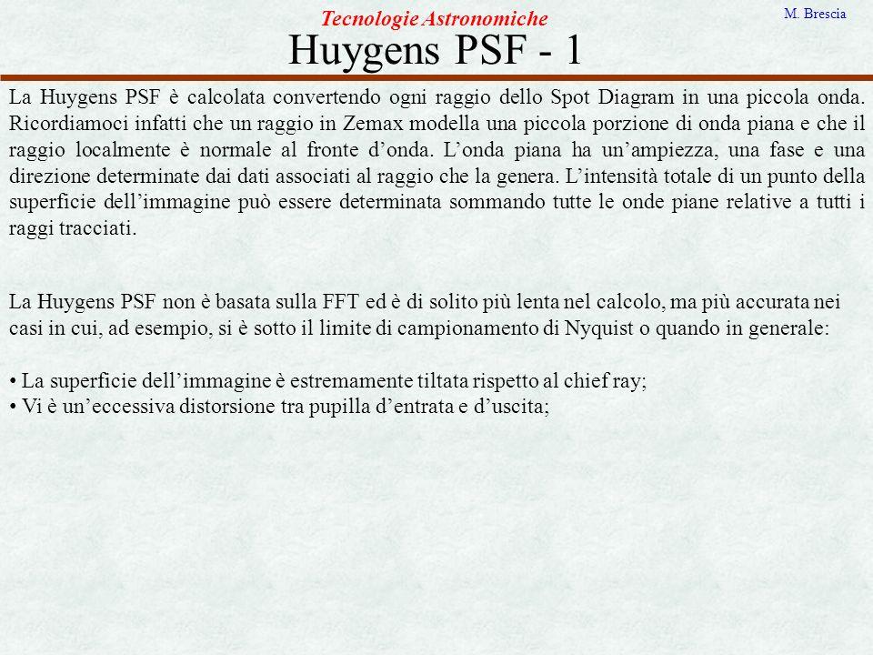 Huygens PSF - 1 Tecnologie Astronomiche M. Brescia La Huygens PSF è calcolata convertendo ogni raggio dello Spot Diagram in una piccola onda. Ricordia