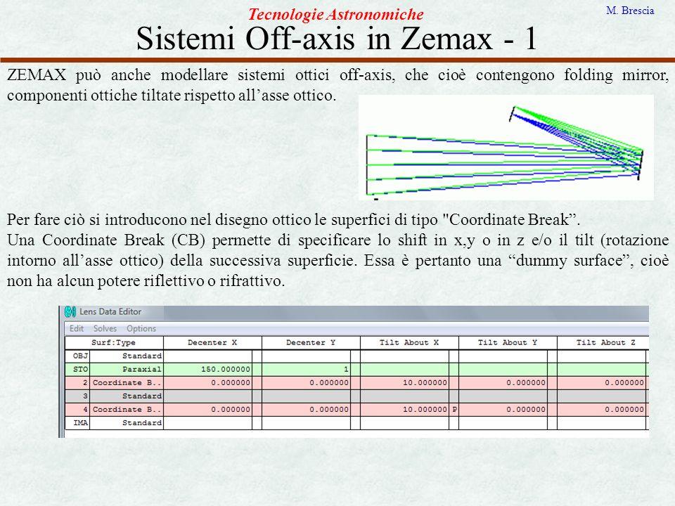 Sistemi Off-axis in Zemax - 1 Tecnologie Astronomiche M. Brescia ZEMAX può anche modellare sistemi ottici off-axis, che cioè contengono folding mirror