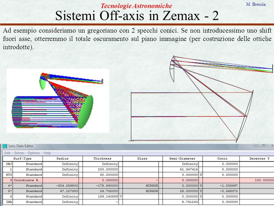 Sistemi Off-axis in Zemax - 2 Tecnologie Astronomiche M. Brescia Ad esempio consideriamo un gregoriano con 2 specchi conici. Se non introducessimo uno