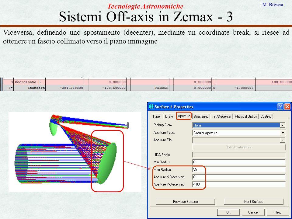 Sistemi Off-axis in Zemax - 3 Tecnologie Astronomiche M. Brescia Viceversa, definendo uno spostamento (decenter), mediante un coordinate break, si rie