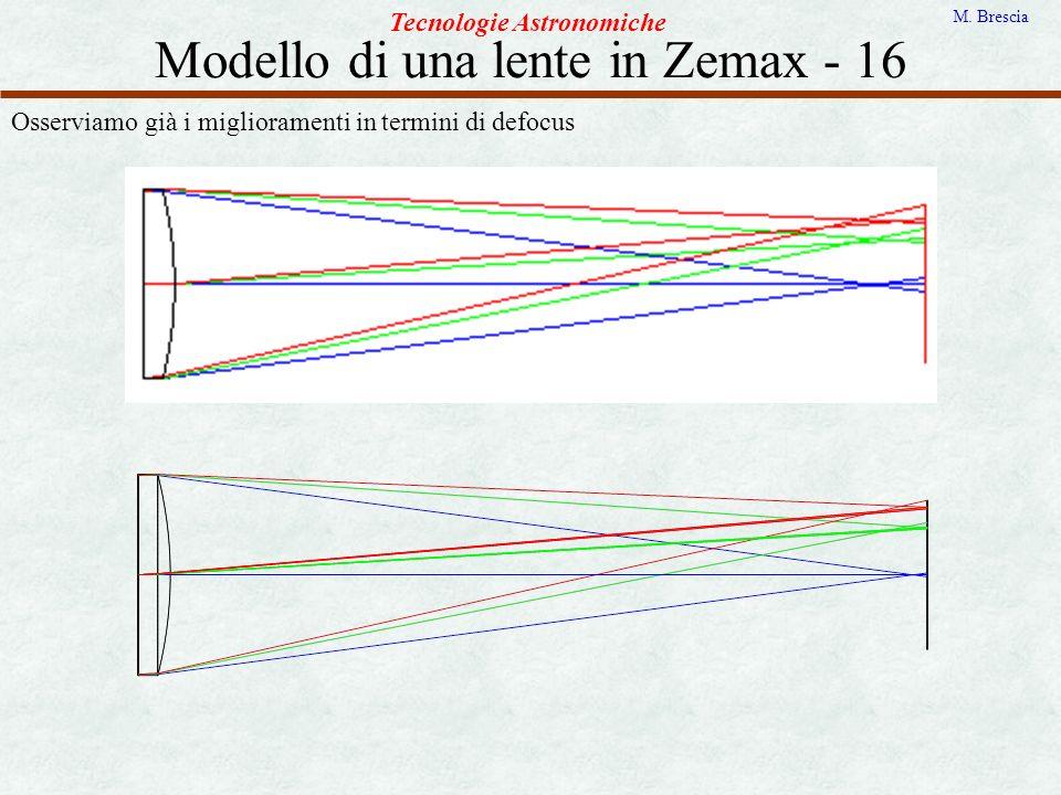 Modello di una lente in Zemax - 16 Tecnologie Astronomiche M. Brescia Osserviamo già i miglioramenti in termini di defocus